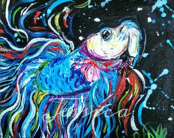 Bright And Colorful Original Beta Fish Painting
