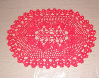Vintage Hand crocheted red doily - crochet -