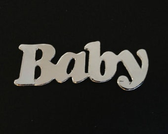 20 Silver Baby Banner word die cuts for cards/toppers -cardmaking/scrapbooking craft projects