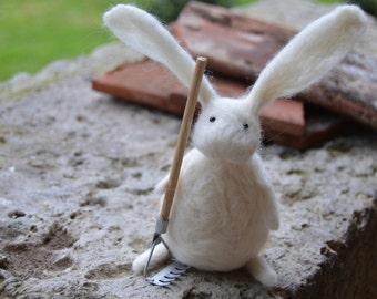 Needle Felt Rabbit in the Garden, Handmade,Bunny,Hare,Woodland,Needlefelt,Animal,Soft Sculpture,OOAK,Gardening,Miniature,Easter