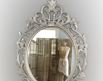 Silver Ornate Mirror Baroque Large Bathroom Vintage Style Frame