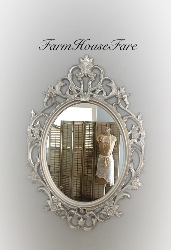 Silver ornate mirror baroque mirror large bathroom mirror for Baroque bathroom mirror