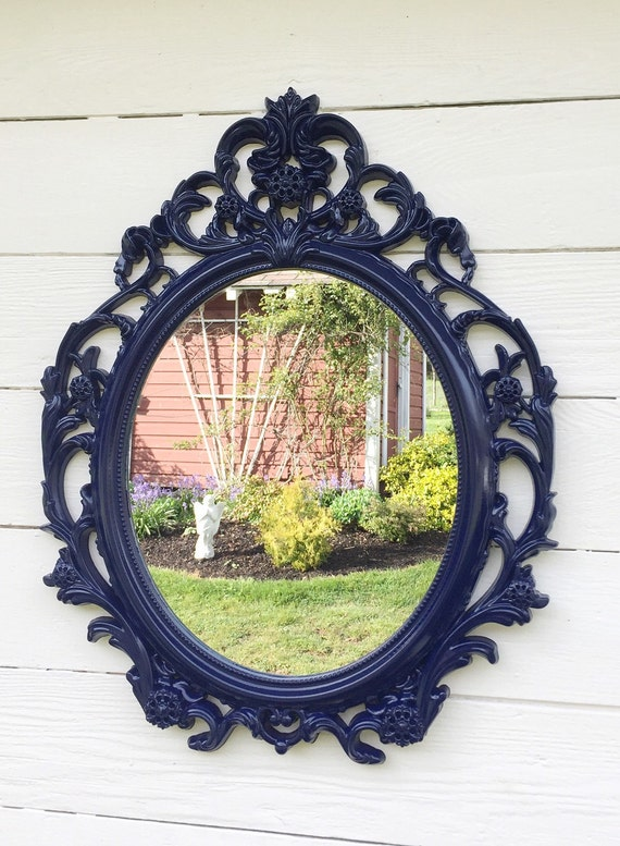 baroque navy blue mirror large wall hanging