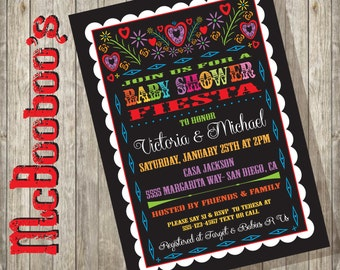 Mexican Baby Shower Papel Picado Fiesta Invitation with scalloped edge