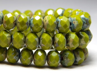 8x6mm Avocado Picasso Czech Beads, Green Beads, Earthy Beads, Glass Beads, Czech Rondelles, Green Rondelles, Rustic Beads, T-69C