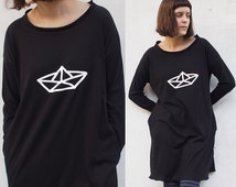 Tricot Dress With Pockets and Origami Paper Boat Print Black women's clothing T shirt dress Organic Cotton