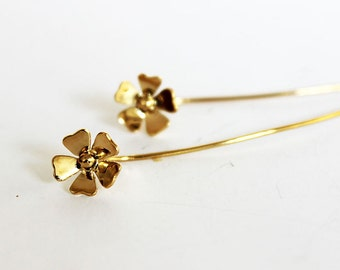 Gold flower earrings, Long gold earrings, Long post earrings, Long stem earrings, Flower post earrings