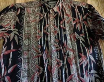 Vintage shirt Hawaiian man's black and brown XL