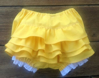 Size Babies' L,  9 - 12 Mths, Diaper Cover/Bloomers, Baby Girl Ruffled Layers, Yellow Pure Cotton, White Eyelet Trim, READY TO SHIP