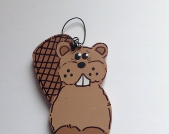 Personalized Beaver Wooden Christmas Ornament - Baby Girl and Boy - Childrens - Hand Painted