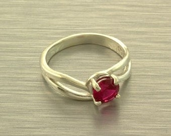 Sterling Lab Created Ruby Split Shank Ring Size 7