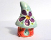 Hippie Gnome Home with Mod Flower in Celadon and Red ceramic pottery sculpture clay fairy house garden miniature gnome terrarium beatlebaby