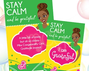 Stay Calm and Be Grateful Journal and Note Card Literacy Set, African-American, Youth and Mentor Programs