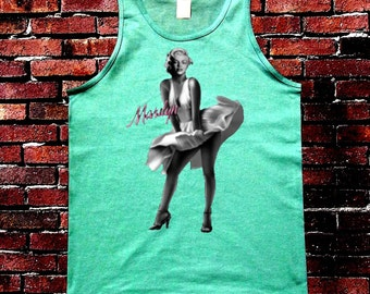 New Men's  Marilyn Monroe With Dress Tank Top all size S-3XL Mint Green