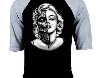 Men's Marilyn Monroe Half Skull  Gray-Black Baseball T Shirt S-3XL