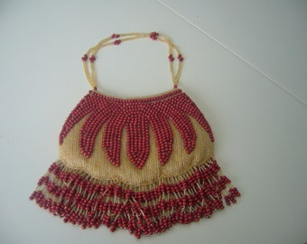 Vintage, Beaded,Gold and Red, Evening Bag.