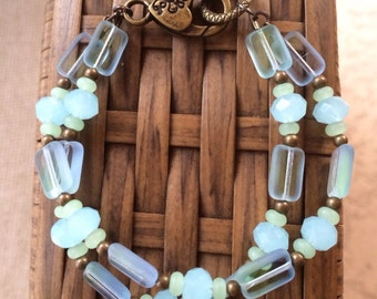 Gorgeous double strand czech Picasso bracelet in pastel blue and green. Colors of the beach
