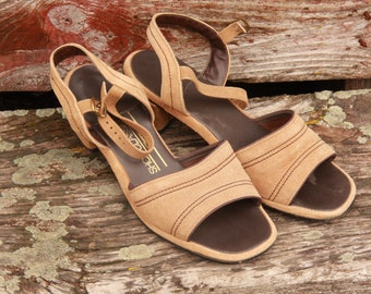 Vintage Tan Sandals. Heels. Imitation Suede. J.C. Penneys. Cruelty Free. Classic Style. 1970's or 1980's Retro Summer Shoes. Open Toed.Cool.