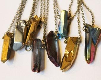 Various Unique Medium Sized Titanium Quartz Pendant Necklaces