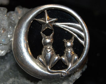 Unique Vintage Carved Onyx Black Cat Brooch Sterling Silver Jezlaine Wish upon a Star Duo Crossed Tails