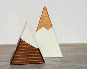 Cake Topper or Centerpiece - Mini Peaks - Walnut, White, Natural Snow Capped Mountains