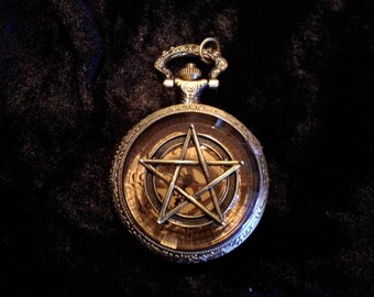 Steampunk One of a kind custom bronze pentagram on bronze pocket watch with amber cover. FREE SHIPPING!