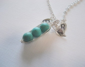 Peas In Pod Necklace, Turquoise, Pea Pod Necklace, 3 Peas In Pod, Stamped Pod, Pea Pod, 3 stamped Letters, Christmas, Turquoise Pea Pod