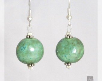 Handmade ceramic earrings, balls,turquoise with silver glint