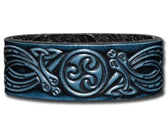 Leather Bracelet 24mm Celtic Triskelwith  Snakes