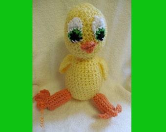 Cute Crochet Green-Eyed Yellow Duck Stuffed Animal
