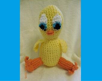 Cute Crochet Blue-Eyed Yellow Duck Stuffed Animal