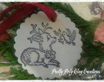 Christmas Clay Ornament or Gift Tag ~ Reindeer and Bird