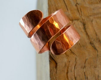 HAMMERED COPPER Wrap RING Adjustalbe Ring Artisan Made Hammered Statement Ring Copper Jewelry Tall Wrapped Ring Unique Ring Patina Jewelry