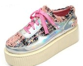Women Creepers Suede Leather Art style Laser profiling pattern Flat Platform Lace Up Goth Creepers Punk Casual Shoes