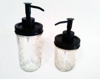 Oil Rubbed Bronze Quilted Mason Jar Soap and Lotion Dispenser Set Ball Jar Soap Pump