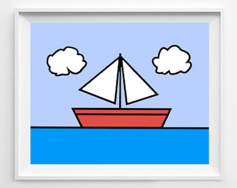 The Simpsons - Simpsons Poster - Simpsons Sailboat - Simpsons Art - Nautical Art - Nautical Poster - Sailboat Poster - Sailboat Painting