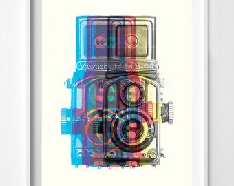 Yashica - Medium Format Camera - Camera Art - Camera Poster - Camera Wall ARt - Leica Camera - Camera Wall Art - Photography - Camera Decor