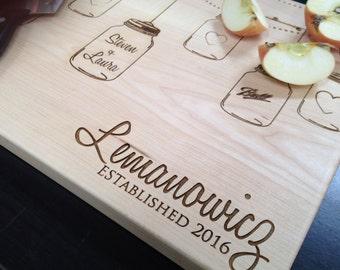 Rustic Mason Jar Personalized Cutting Board Wedding Present Bridal Shower Gift Anniversary/ Kitchen Decor Chopping Board Custom Board