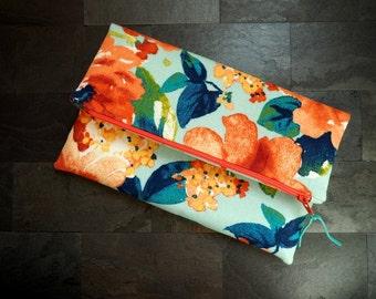 Floral foldover clutch, floral clutch,  multicolored clutch, clutch purse, blue orange yellow peach, bag, summer, de almeida designs
