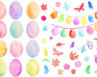 Easter Clip Art, watercolor pastel color Easter eggs and Easter egg buntings for instant download for scrapbook easter greeting cards