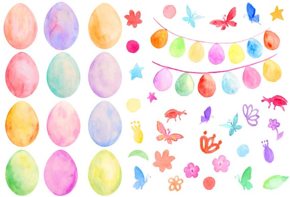 Easter Clip Art Watercolor Pastel Color Eggs And Egg Buntings For Instant Download Scrapbook Greeting Cards From CornerCroft On