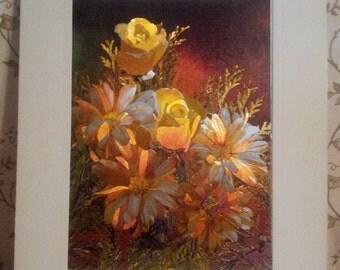 Vintage Mid century 1960's Dufex W.G. Floral Etched Foil Print Postcard