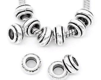 10pcs Antique Silver Short Spacer Beads Fit European Bracelet 9x5mm (No.715)