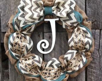 Monogram spring wreath, summer wreath, burlap wreath, mothers day wreath, blue chevron door wreath