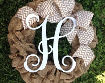 Burlap Wreath, Fall Wreath, Autumn Wreath, Front Door Wreath, Initial Wreath, Burlap Winter Wreath