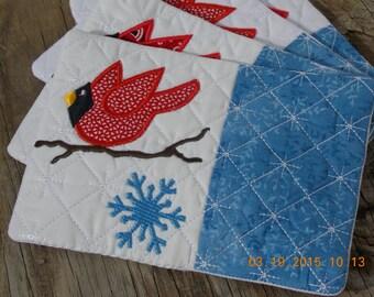 Cardinal Snowflake Mugmat