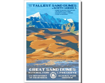 """Great Sand Dunes National Park WPA style poster. 13"""" x 19"""" Original artwork, signed by the artist. FREE SHIPPING!"""