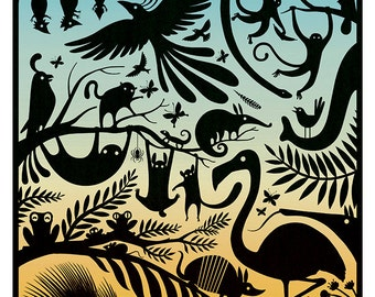 Jungle Chaos A2 Lithograph Art print by Adam Fisher