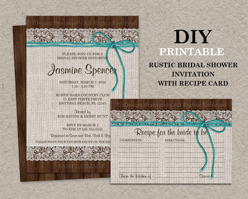 Postcard Wedding Shower Invitations: Rustic Turquoise Bridal Shower Invitation With Recipe Card