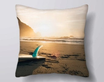 Surf Board Beach - Cushion Fabric Panel Or Case or with Filling